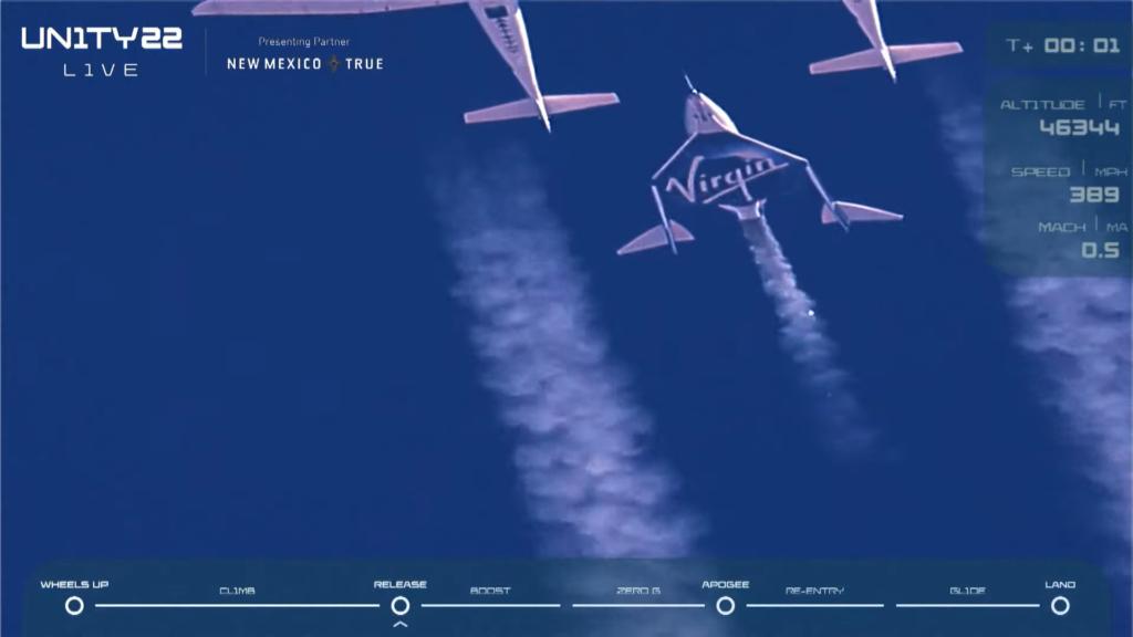 SpaceShipTwo VSS Unity ดีดตัวออกมาจากยานบรรทุก | ภาพจากการถ่ายทอดสด Virgin Galactic โดย Bigdreamblog.com