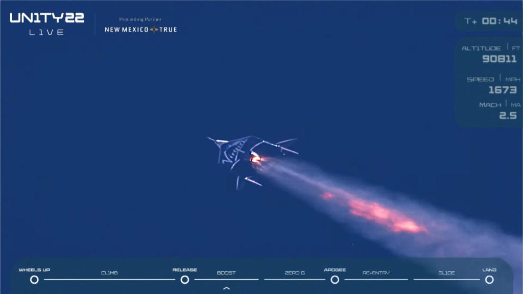 VSS Unity โดย Virgin Galactic เร่งเครื่องเพื่อไต่ระดับไปอวกาศ | ภาพจากการถ่ายทอดสด Virgin Galactic โดย Bigdreamblog.com